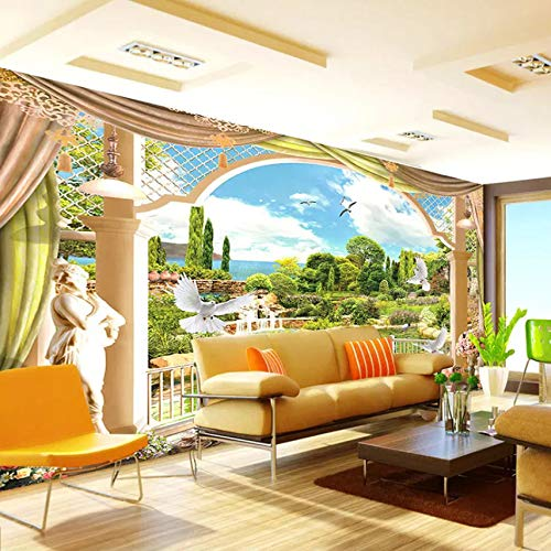 3D Decorations Wall Murals Stickers Wallpaper Room Outside The Window Scenery Roman Column Home Decor Art Kids Kitchen ()
