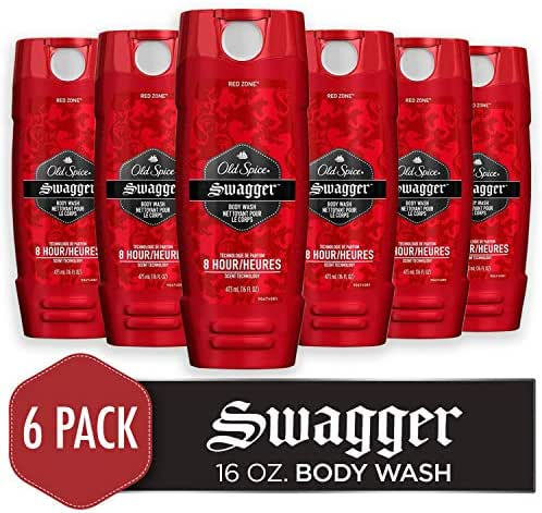 Old Spice Men's Body Wash, Swagger Scent, Red Collection 16 Fluid Ounce (Pack of 6)