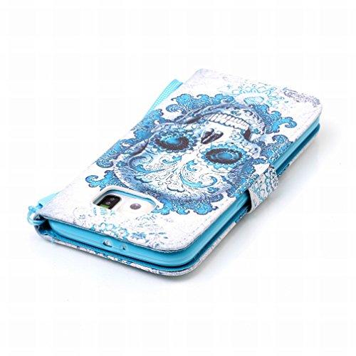 Yiizy Samsung Galaxy S6 G9200 Funda, Cráneo azul Diseño Solapa Flip Billetera Carcasa Tapa Estuches Premium PU Cuero Cover Cáscara Bumper Protector Slim Piel Shell Case Stand Ranura para Tarjetas Esti
