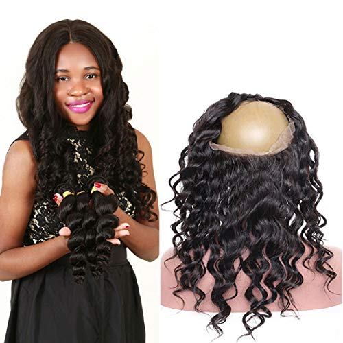 - Malaysian 360 Frontal Loose Wave Lace Closure Only With Baby Hair Pre Plucked Lcae Base Bleach Knots Tracks 10A Mink Wet And Wavy Remy Virgin 180 Density 100 Percent Human Hair Bundles 18Inch