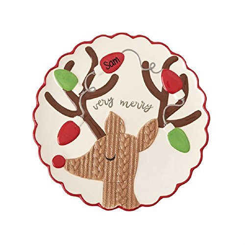 Mud Pie 4075120 Reindeer Personalized Platter Holiday, Muli