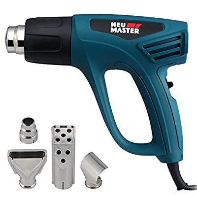 NEU MASTER N2190 1500W Heat Gun Kit with Dual Temperature Control with Overload Protection Four Nozzle Attachments for Stripping Paint, Bending Pipes, Lighting BBQ