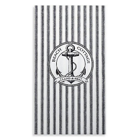 Anchor Beach Cottage Land Sea Gray White Stripes Guest Paper Towels Set 48 Count (India Ink Beach Cottage)