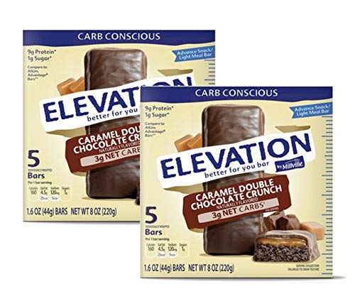 Millville Elevation Advanced Carb Conscious Better for You Caramel Double Chocolate Crunch Endulgent Bars – 2 Boxes