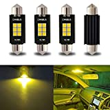 "iBrightstar Newest 9-30V Extremely Bright 212-2 578 Festoon Error Free 1.61"" 41mm LED for Interior Map Dome Lights and License Plate Courtesy Lights, Yellow"