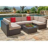 Diy Glass Coffee Table SUNCROWN Outdoor Furniture 7-Piece Wicker Sofa Set w/Brown Washable Seat Cushions & Modern Glass Coffee Table | Patio Backyard, Pool & Waterproof Cover