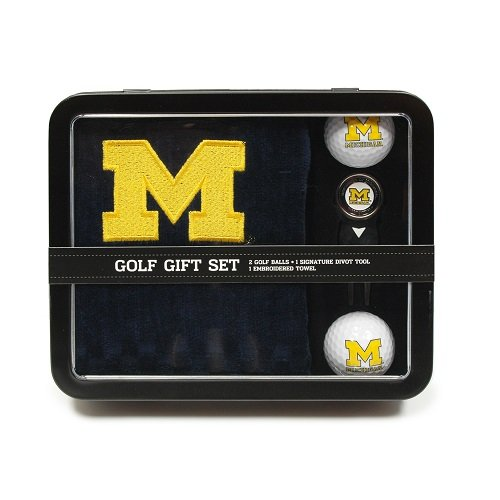 Michigan Wolverines Embroidered Towel - Team Golf NCAA Michigan Wolverines Gift Set Embroidered Golf Towel, 2 Golf Balls, & Divot Tool with Removable Double-Sided Magnetic Ball Marker