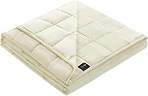 """ZonLi Cooling Weighted Blankt 20lbs(60""""x80"""", Cream, Queen Size) Bamboo Fabric(Natural, Cool) with Glass Beads"""