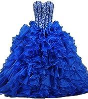 ANTS Women's Ruffles Dazzling Long Quinceanera Dress Ball Gown Prom Dresses