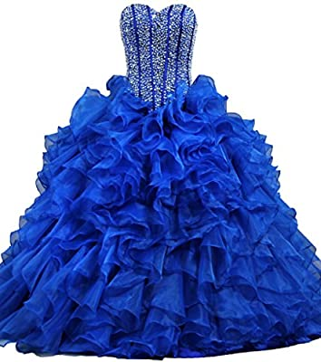 ANTS Women's Ruffles Dazzling Long Quinceanera Dress Ball Gown Prom Dresses