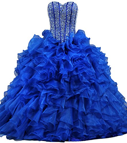 ANTS Women's Ruffles Dazzling Long Quinceanera Dress Ball Gown Prom Dresses Size 16 US Royal Blue