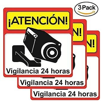 ★Pack 3 carteles rígidos alarma atención vigilancia 24 horas ★Kit varios carteles alarma cámara de vigilancia ★Cartel rígido disuasorio seguridad ...