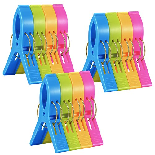 12 Pack Ipow Towel Clips Plastic-Jumbo Size,4 Fun bright colors - for Beach Chairs or Pool Lounges,Heavy Duty Clips to Keep Your Towels,Clothes,Quilt,Blanket from Blowing Away or Sliding Down (Plastic Towels)