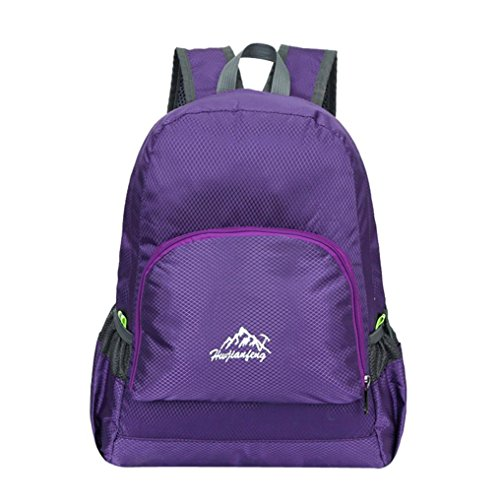 Men Bag Zipper Repellent Unisex Fold Folding Backapck Neutral mamum Women Shoulder Trvel Purple School Rucksack Water Nylon And Backpack Waterproof dgwgxZO8