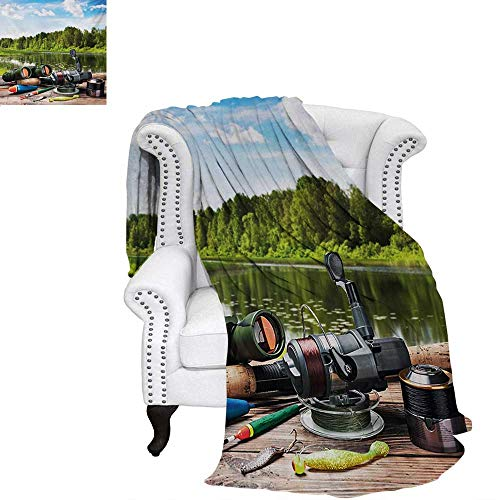 warmfamily Hunting Summer Quilt Comforter Fishing Tackle on a Pontoon Lake in The Woods Trees and Greenery Freshwater Hob Digital Printing Blanket 60