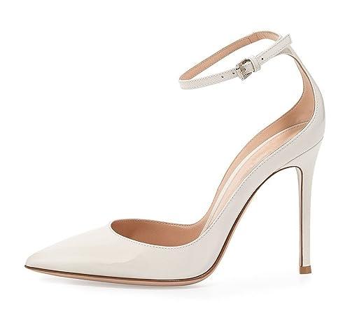 12f5d9b572 Soireelady Scarpe da Donna,Scarpe col Tacco Punta Chiusa Donna,Scarpe con  Cinturino alla Caviglia