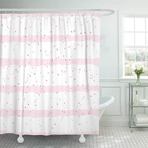 - Semtomn Shower Curtain Sponge Cake Simple Pink on White Striped Red Speckles Shower Curtains Sets with 12 Hooks 60 x 72 Inches Waterproof Polyester Fabric