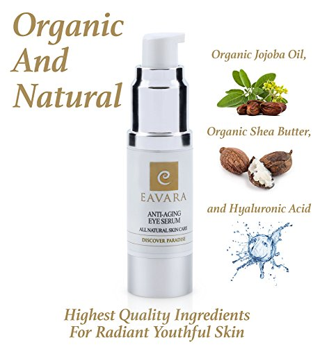 Organic Anti Aging Eye Cream – Award Winning Eye Serum for Wrinkles, Fine Lines and Puffiness – Natural Skin Care with Aloe Vera, Jojoba Oil, Witch Hazel, Vitamin E, Hyaluronic Acid