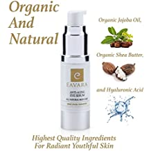 Organic Award Winning Natural Anti Aging Eye Serum | Organic Jojoba | Best Under Eye Cream Skin Care & Solution for Reducing Dark Circles, Fine Lines, Puffiness & Wrinkles | Hyaluronic