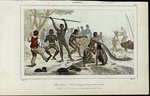natives-eating-live-fish-fishing-australia-scarce-1863-old-hand-color-view-print