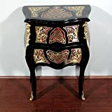 French Style Black Boulle Nightstand Side Table w/ Brass Ornate Inlay