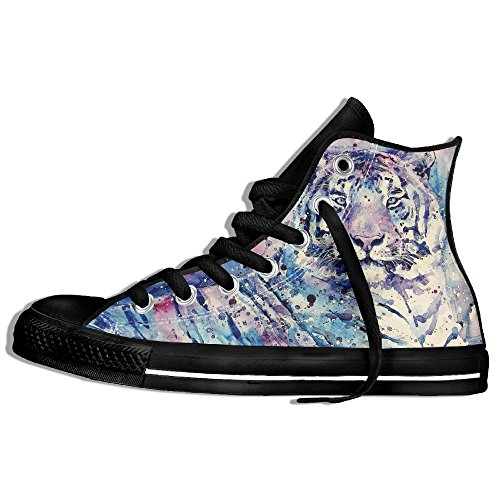 Classic High Top Sneakers Canvas Shoes Anti-Skid Tiger Art Casual Walking For Men Women Black 6kLdF2w7p