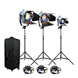 Alumotech 150Watt+300Watt+650Watt+Dimmers+Stands 1100Watt Fresnel Tungsten Spotlight Halogen Lamp Studio Video Light Kit Air Cushioned Stands For Camera Lighting Compatible Bulb
