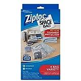 ziploc storage bags vacuum jumbo - Ziploc Space Bag, Variety Pack, 4 Count (1 Medium Flat Bag, 1 Large Flat Bag, 1 Jumbo Flat Bag, 1 Travel)