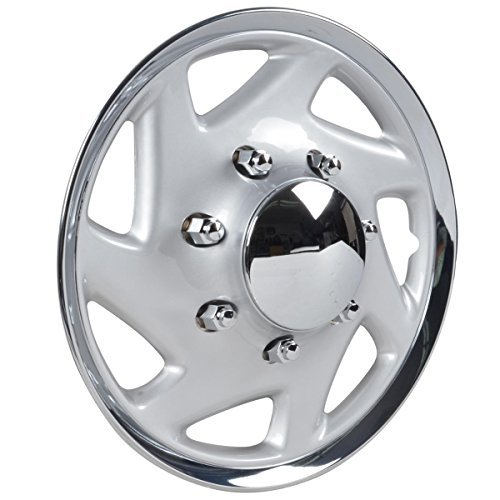 BDK Ford Hubcaps Wheel Cover, 16'' Chrome Replica Cover, OEM Factory Replacement (4 Pieces)