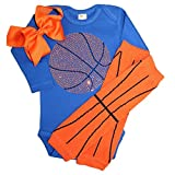 FanGarb Rhinestone Baby Girls Basketball Blue Outfit, Orange Basketball Leg wamers & Bow