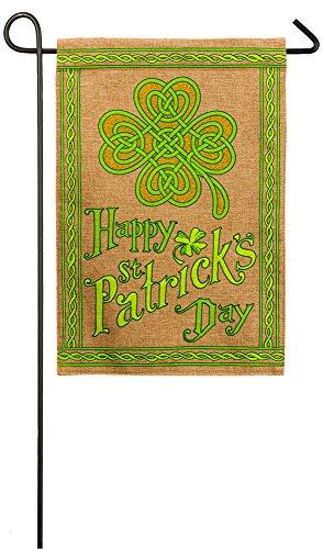 Evergreen Happy St. Patrick's Day Burlap Garden Flag, 12.5 x