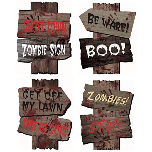 Halloween Sign Post (Supoice Halloween Decorations Yard Beware Signs with Stakes for Halloween Lawn Decorations Scary Zombie Vampire Graves Party)