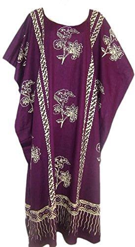 Cool Kaftans JAVA Print Cotton Kaftan Caftan Dress One Plus Size New - Purple