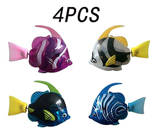 Heartte@ [Pack of 4] Robofish Activated Battery Powered Robo Angel Fish Toy Childen Kids Robotic Gift (NDS-SHYX4) (Kids Angel Fish)