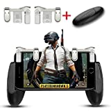 Mobile Game Controller, Aimus Sensitive Aim Triggers and Game Grip Joystick for PUBG/Fortnite/ Knives Out/Rules of Survival, Gamepad for iPhone, Samsung and Android Smart Phones (Clear)