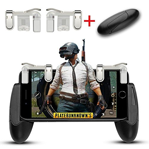 Mobile Game Controller, Aimus Sensitive Aim Triggers and Game Grip Joystick for PUBG/Fortnite/ Knives Out/Rules of Survival, Gamepad for iPhone, Samsung and Android Smart Phones (Clear) by Aimus