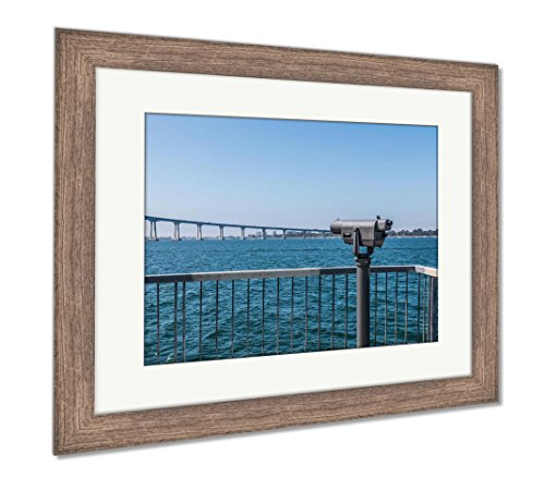 Ashley Framed Prints Sightseeing Binoculars Facing The Coronado Bridge And San Diego Bay As Seen, Wall Art Home Decoration, Color, 30x35 (frame size), Rustic Barn Wood Frame, AG6525643