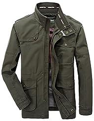 Jinmen Men's Pure Cotton Casual Stand Collar Lightweight Jackets