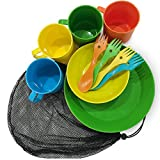 CrossHawk Camping Mess Kit | Premium Full Tableware Set With Mesh Bag For 4 People | Lightweight, Practical, Perfect For Hiking & Backpacking, School Camps, Family Vacations