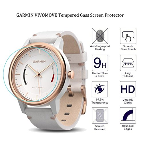 Garmin Vivomove Screen Protector - Riipoo Tempered Glass Screen Protector for Garmin Vivomove, 9H Hardness, 0.3mm Thickness, Delicate Touch, High Definition and Oleophobic Coating, Real Glass