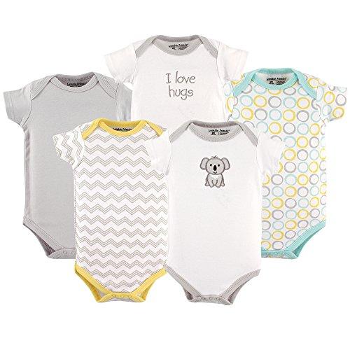Luvable Friends Baby Infant 5 Pack Bodysuits, Kohala, 3-6 Months