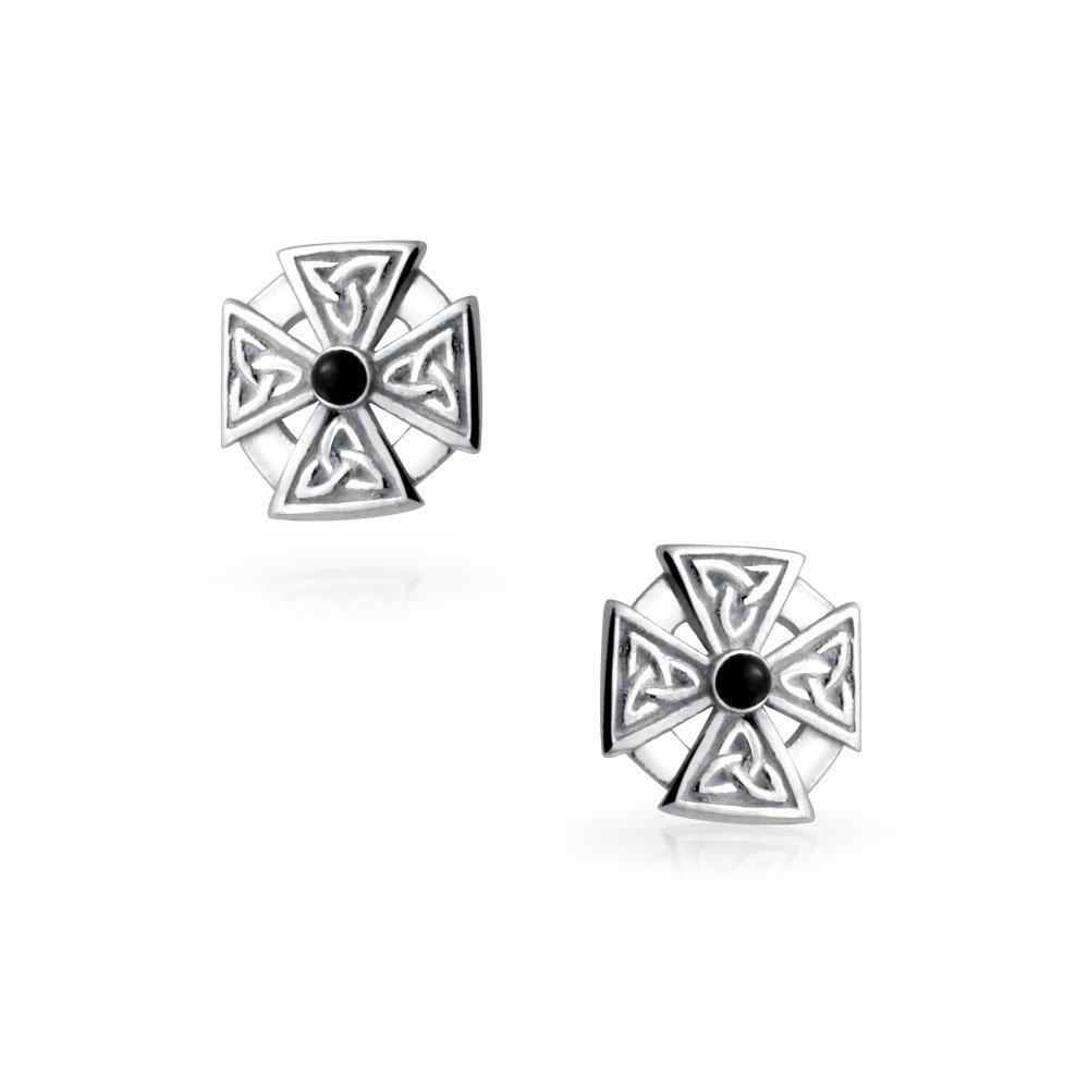 e5f0ee9d7b6 Amazon.com  Mens Women Maltese Cross Black Stone Celtic Knot Templar Knight  Cross Small Stud Earrings Oxidized 925 Sterling Silver  Jewelry
