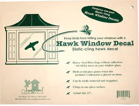 Songbird Essentials Static Cling Window Hawk Decals Bird House - Bird window stickers amazon