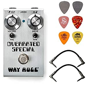 Way Huge WM28 Smalls Overrated Special Overdrive Bundle with 2 Patch Cables and 6 Dunlop Picks