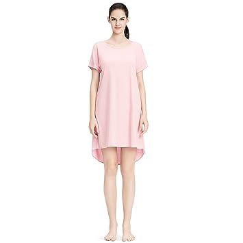 Pijamas de Vestido Algodón de Verano Camisón de Manga Corta de Seda de Hielo de Gran