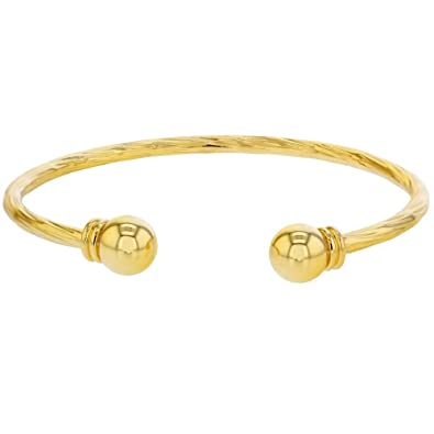 Scorpios Bystar Solid Yellow Gold Plated Smooth Torque Bangle Bracelet Adjustable Q0p12