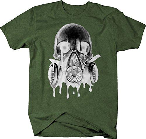 Retro - Melting Skull Gas Mask Goth Rock Hardcore Tshirt - Medium Heather Military Green