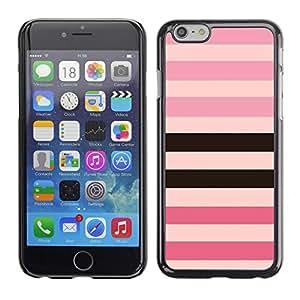 Patrón Línea Rosa Púrpura Negro Equals- Metal de aluminio y de plástico duro Caja del teléfono - Negro - Apple (4.7 inches!!!) iPhone 6 / 6S