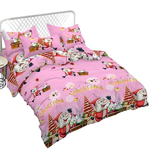 Junhome Christmas Bedding Duvet Cover King Size with Pillowcases Pink Cartoon 3D Christmas Bedding Set Christmas Decor
