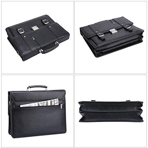 Ronts Men's PU Leather Briefcase Messenger Bag 15 Inch Macbook Laptop Shoulder Bag 015 by Ronts (Image #5)